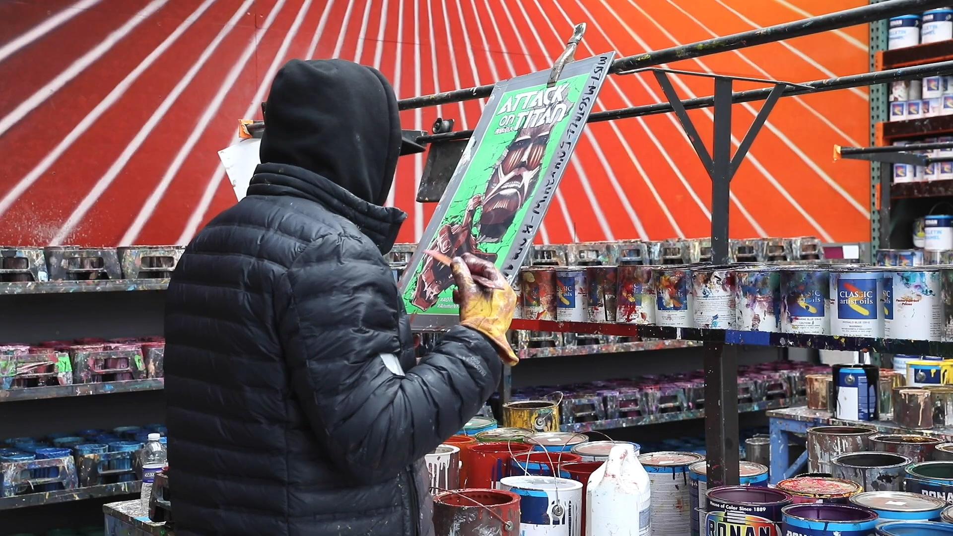 进击的巨人 纽约 麦迪逊花园广场 壁画ニューヨークの壁に「進撃の巨人」を描いてみた!メイキング2/We drew 'Attack on Titan' on the wall in New York [making2].mp4_000007.837