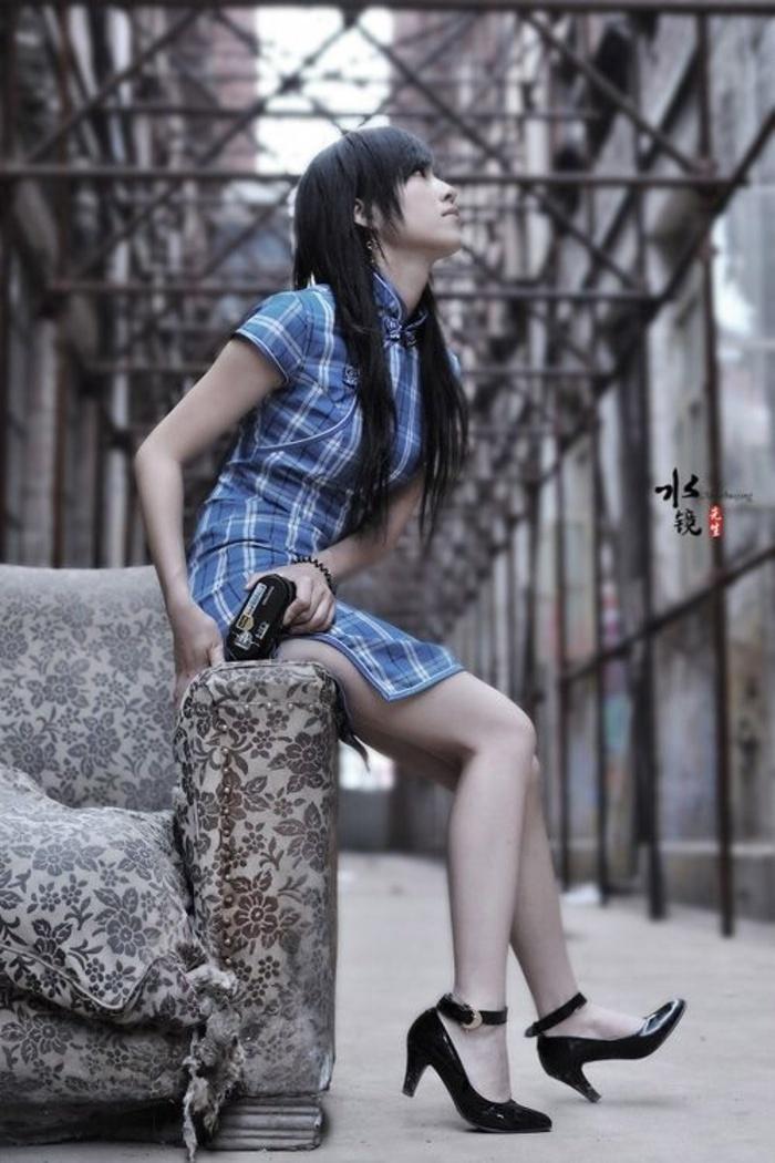蓝格子美女旗袍摄影