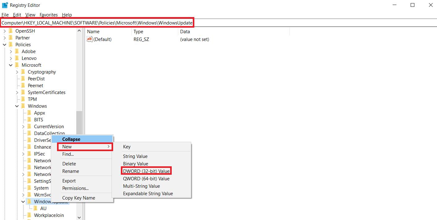 简单修改注册表就可禁止Windows10功能更新下载