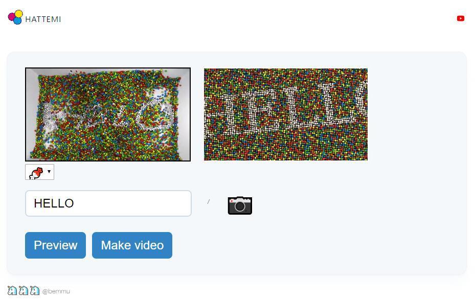 【趣味网站】HATTEMI—用巧克力豆做出有趣的动态视频,可自定义文字、照片插图