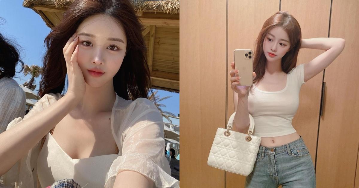 热爱出门赏画的韩国妹子유자白色低胸洋装超迷人