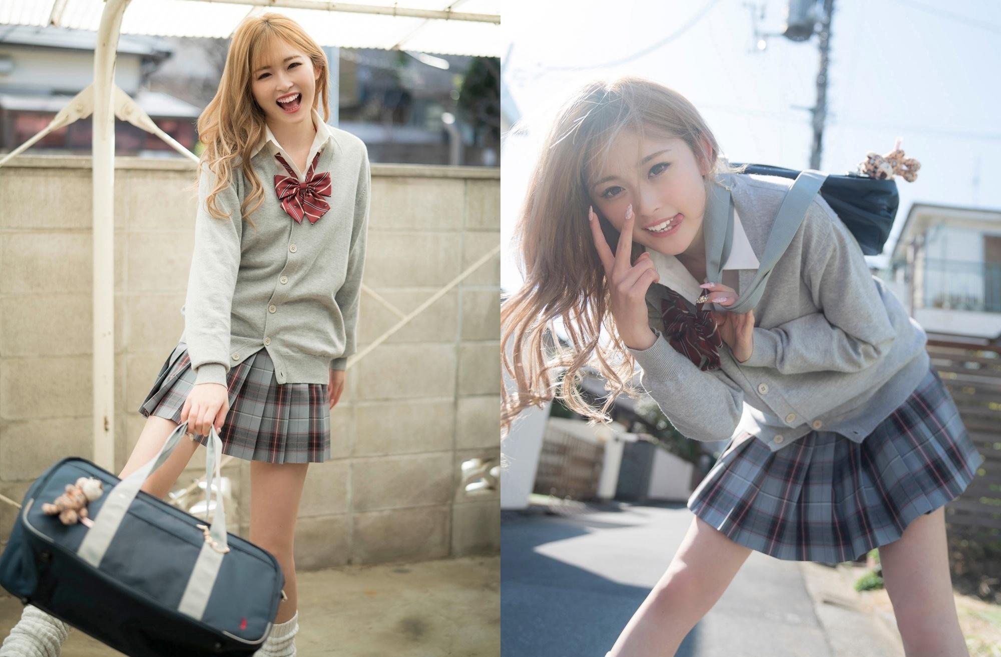 女高中生「古川优奈」全身散发满满青春活力,各种甜萌自拍一个也没少