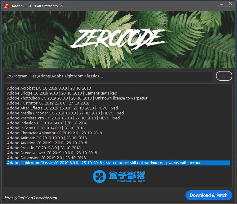 Adobe CC 2019 全家桶通用破解补丁 Zer0Cod3 Patcher v1.5.0
