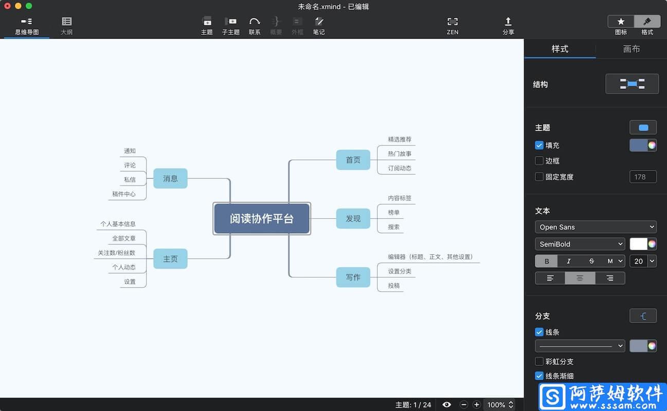 XMind ZEN for Mac 9.2.1 全新的头脑风暴和思维导图工具