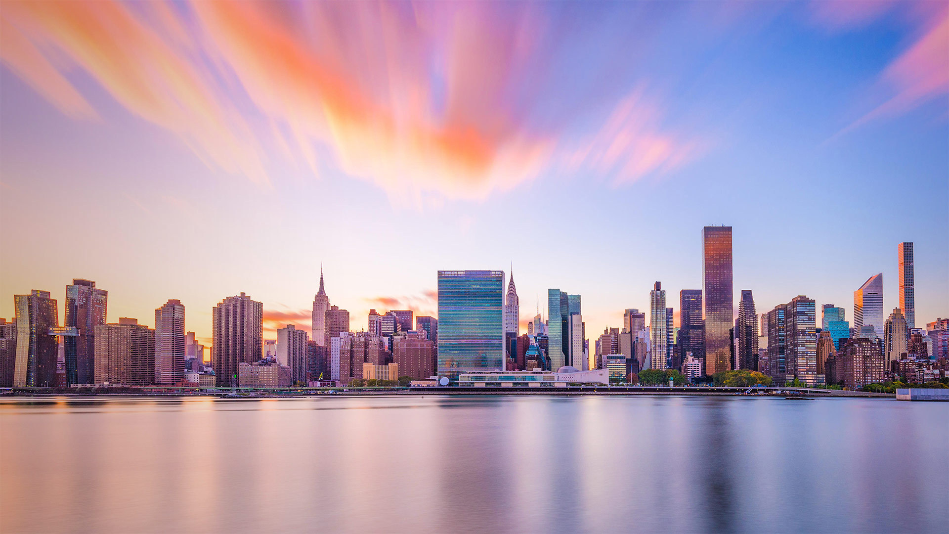 纽约市的天际线与联合国总部大楼 联合国总部大楼