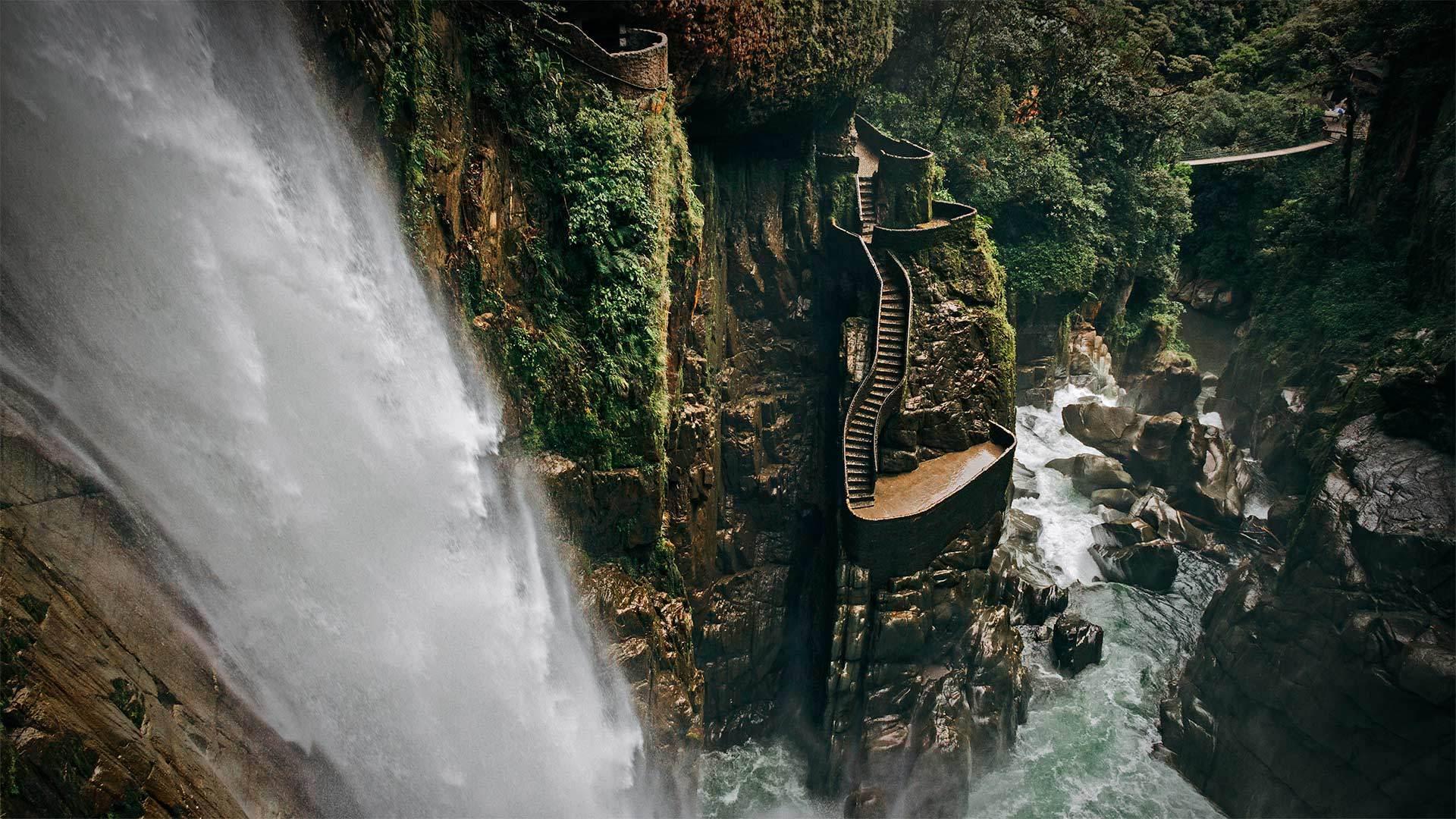 巴尼奥斯附近的阿格杨瀑布阿格杨瀑布