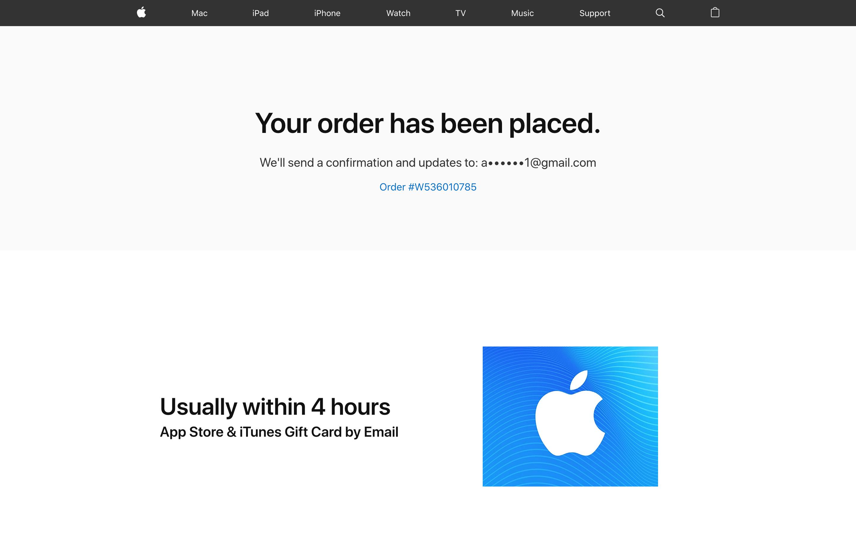 苹果官网购买礼品卡给美区Apple ID充值