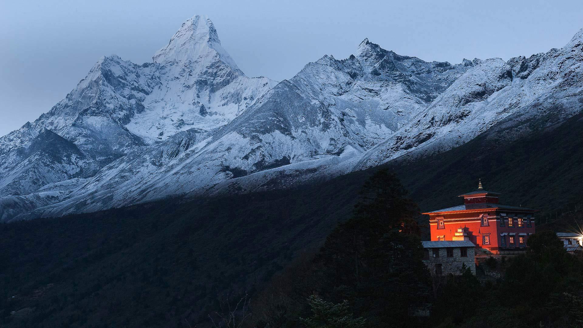喜马拉雅山脉中的Tengboche修道院Tengboche修道院