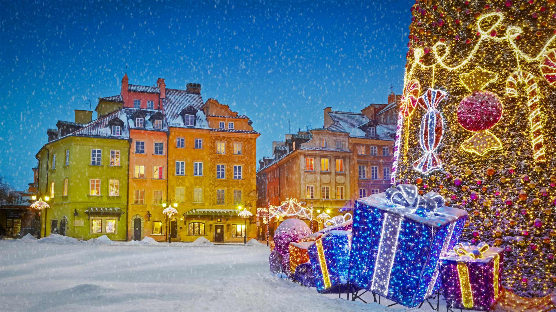 华沙的圣诞节日装饰圣诞节日装饰