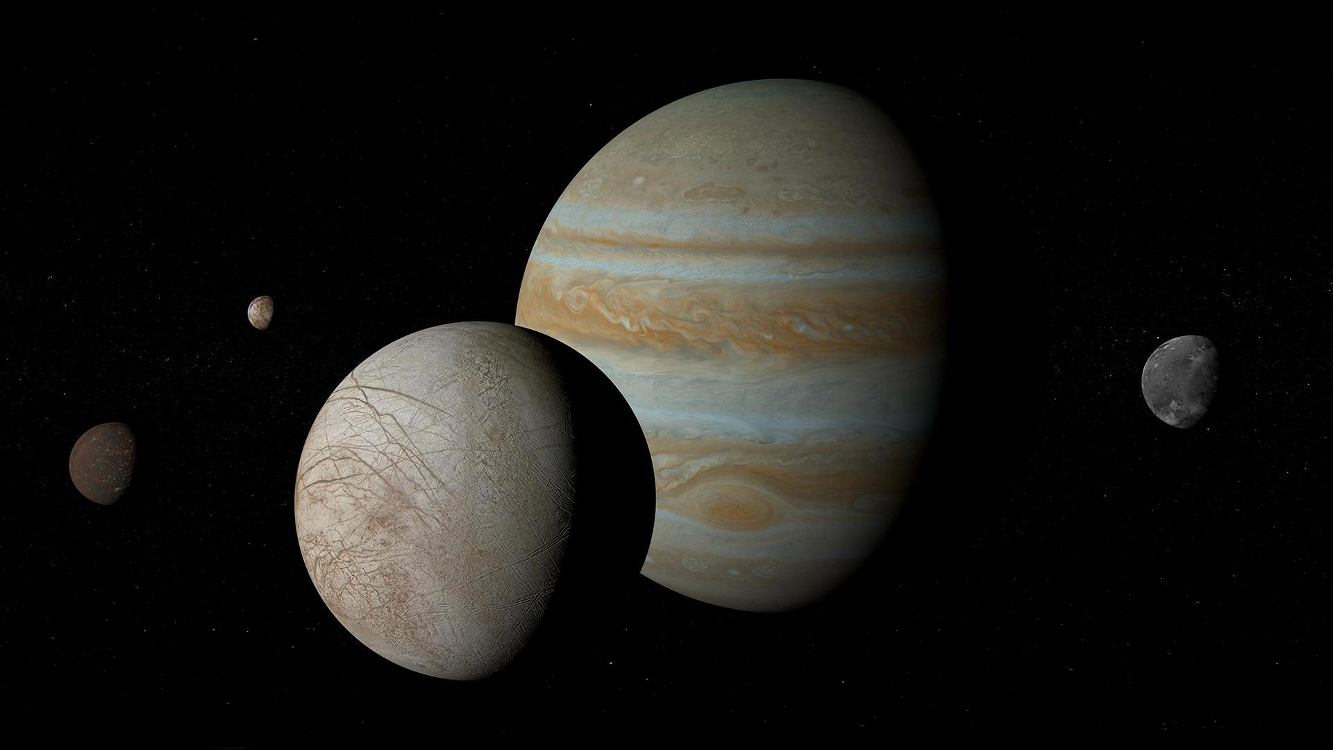 木星的卫星——木卫一、木卫二、木卫三和木卫四木星