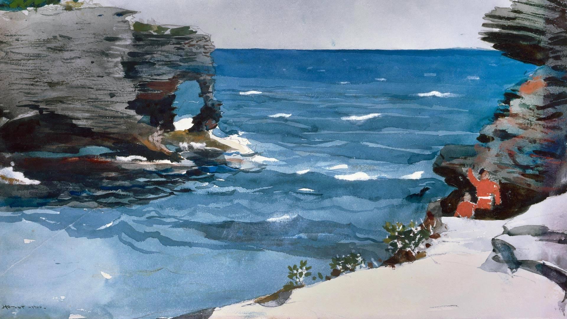波士顿美术馆收藏的画家温斯洛·霍默的水彩画Rocky Shore