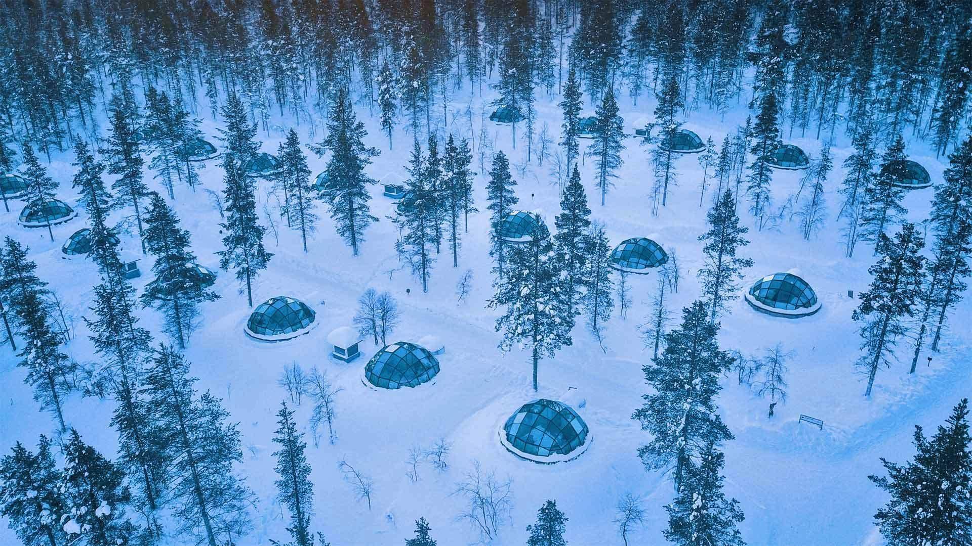 卡克斯劳塔宁阿克蒂克度假酒店的玻璃圆顶冰屋冰屋酒店