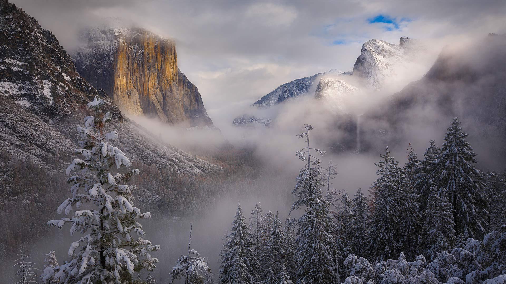 暴风雪散去优胜美地国家公园