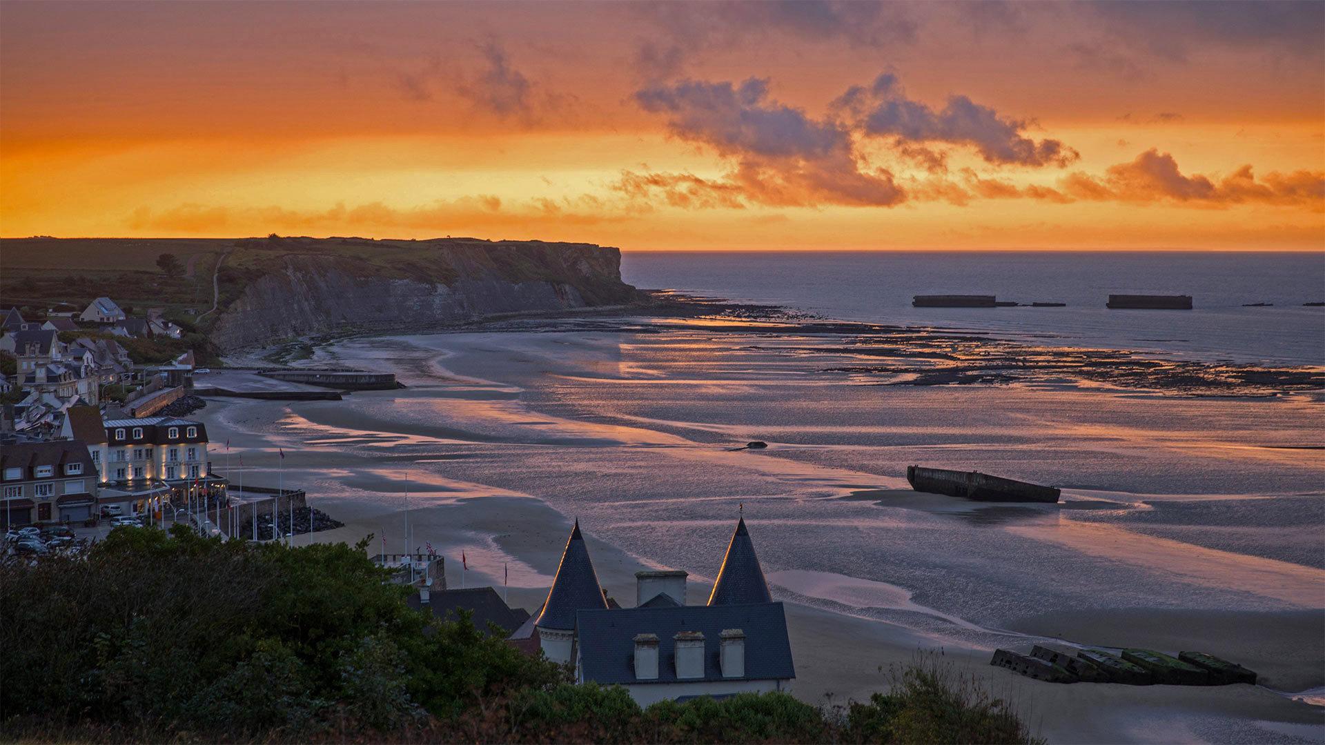 Normandy阿罗芒什莱班的桑树港Normandy