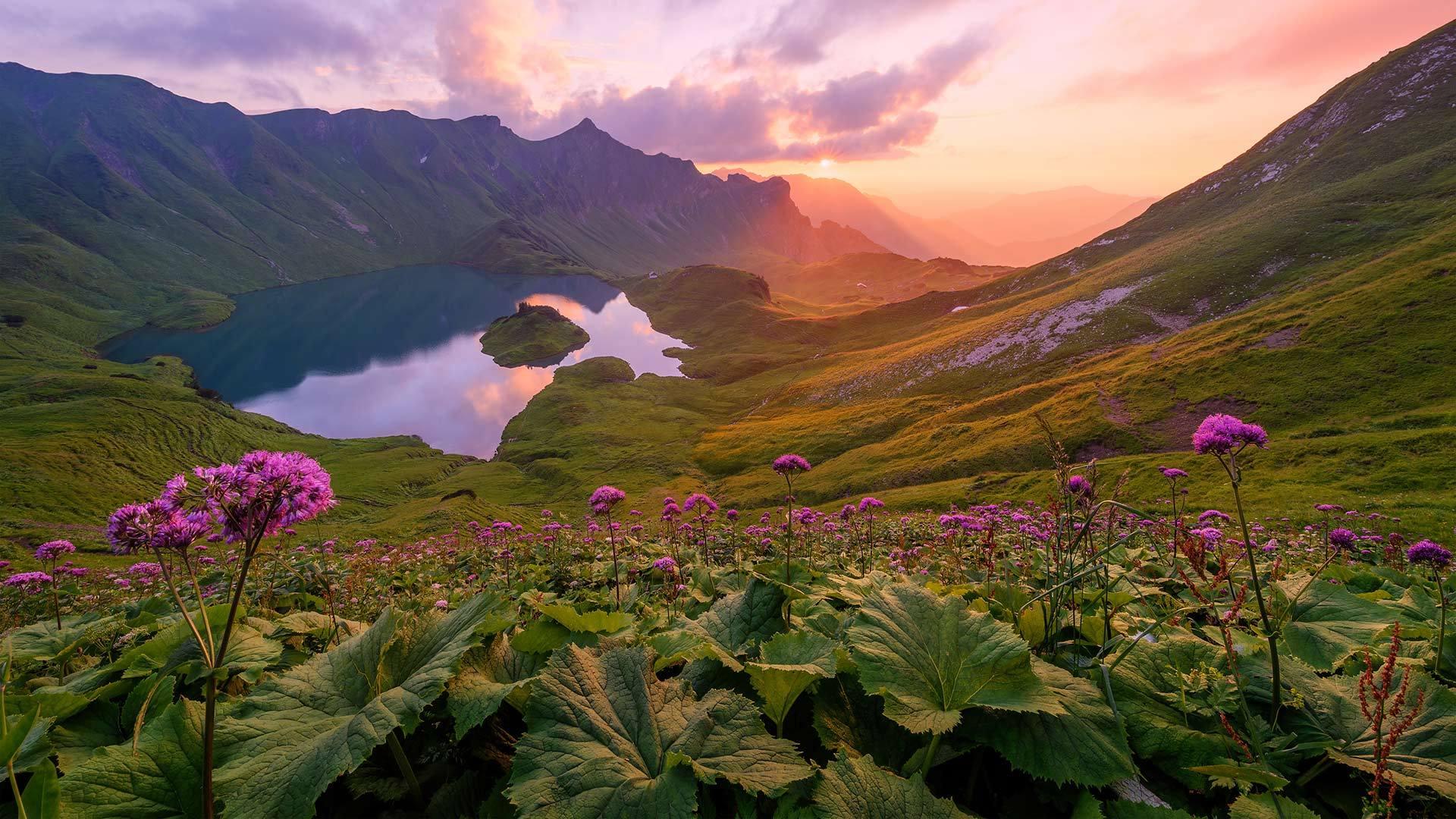 阿尔高阿尔卑斯山脉的Schrecksee湖阿尔卑斯山脉