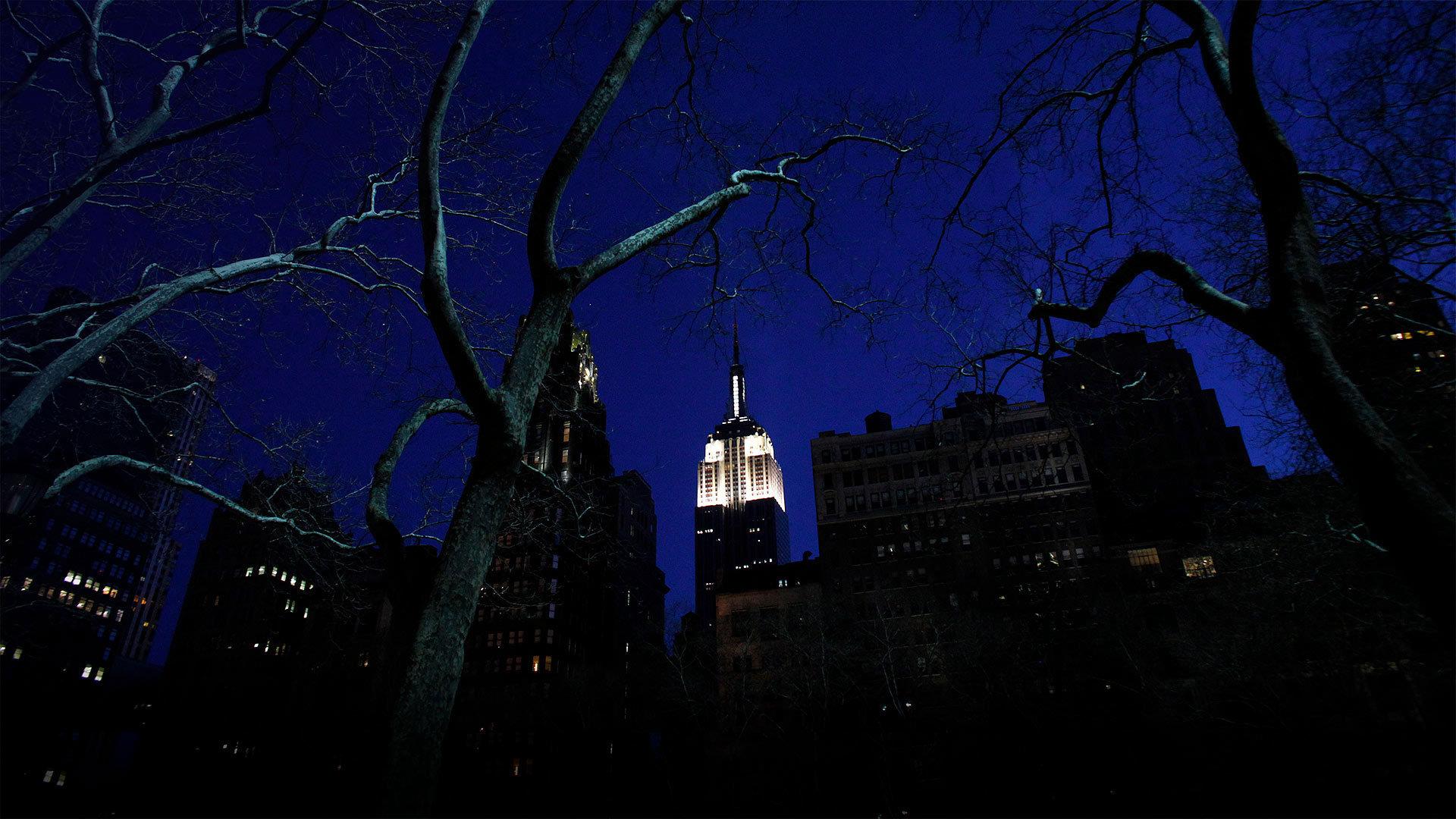 """2011年在""""地球一小时""""前亮灯的纽约帝国大厦"""