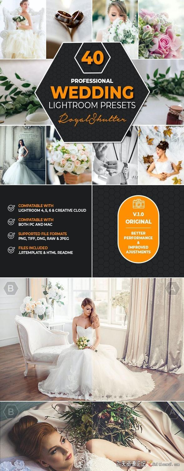 40组专业婚礼婚纱摄影后期Lightroom预设40 Pro Wedding Lightroom Presets Lightroo (3)
