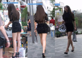 街拍:大街上遇到的黑色包臀裙长腿高个妹子[195M]