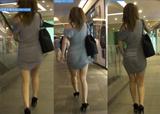 街拍:商城里的灰色包臀裙美腿少妇,有抄底拍哦[66M]