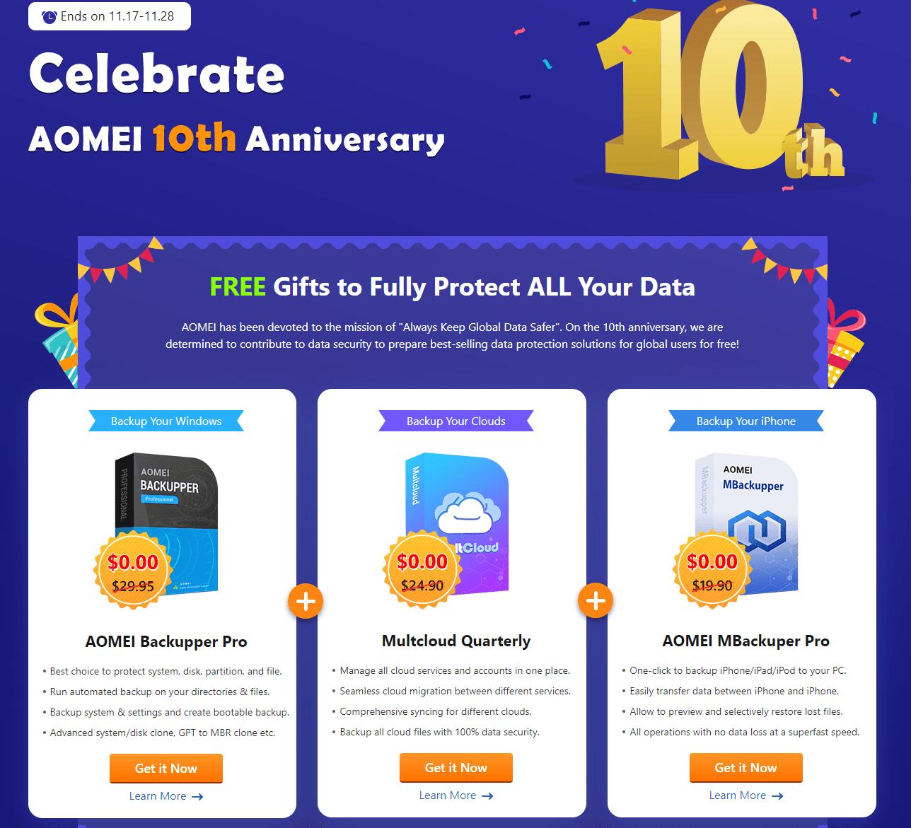 Aomei 傲梅十周年白嫖 1 年正版软件